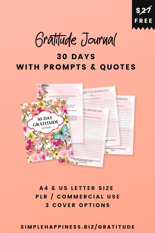 30 day Gratitude Journal free deal