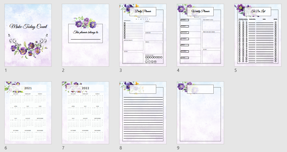 Make Today Count Planner layout